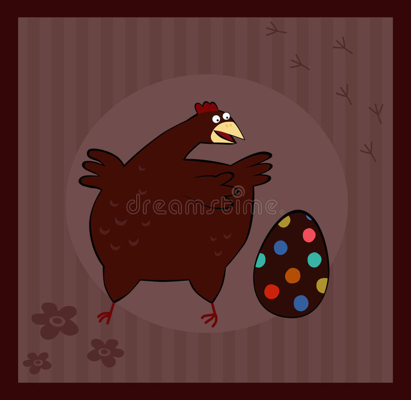 Chicken and Easter Egg on brown background. royalty free illustration