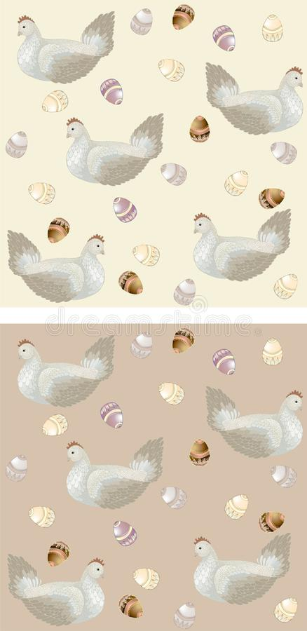 Chicken with easter eggs. Seamless background. stock illustration