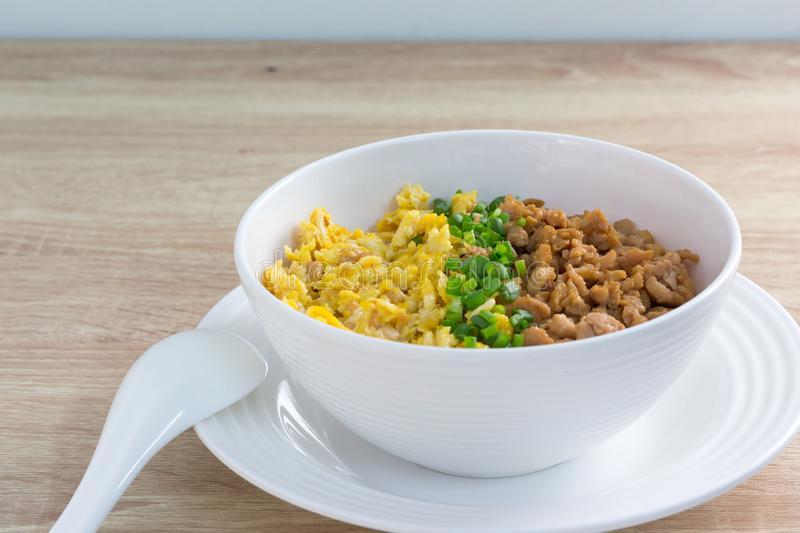 Chicken and egg with sauce over rice stock photo
