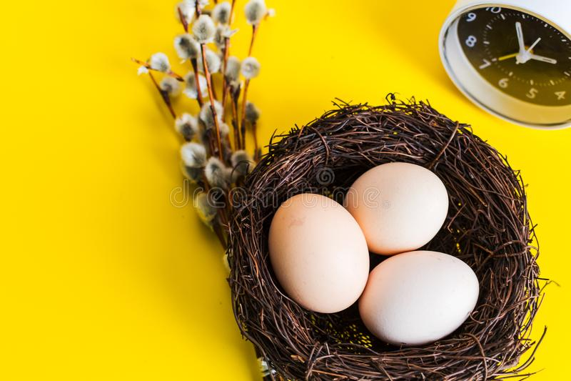 Chicken eggs in a nest with a willow twig and an alarm clock on a yellow background royalty free stock photo