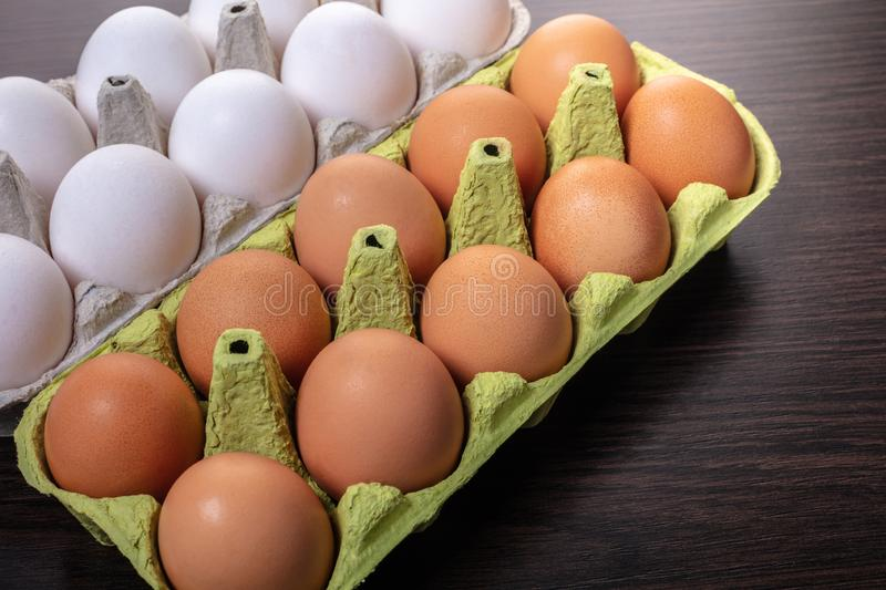 Chicken eggs in a package royalty free stock images
