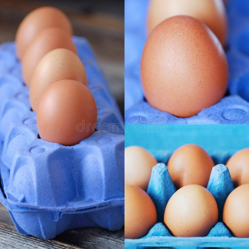 Chicken eggs in the purple package on the table stock photos