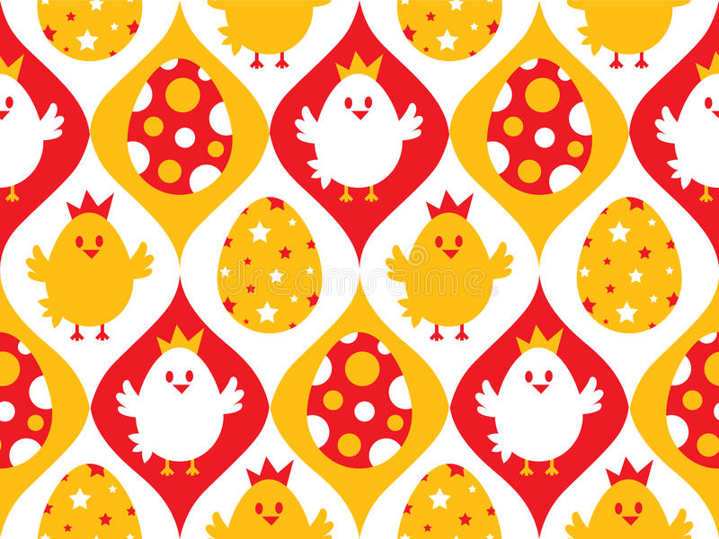 Chicken and eggs seamless royalty free illustration