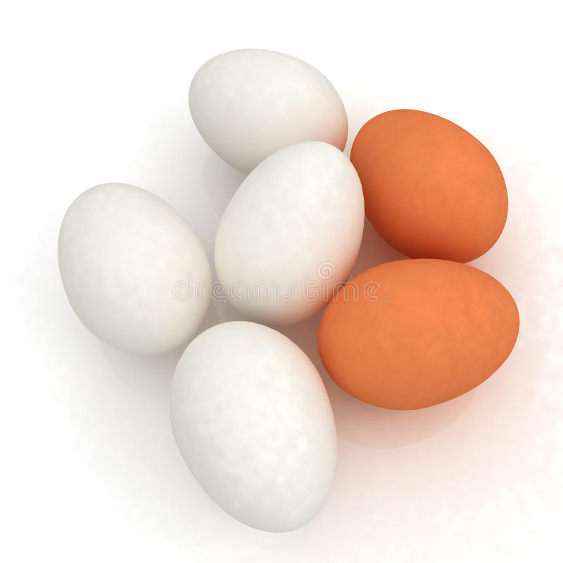 Chicken Eggs On A White Background Royalty Free Stock Photo