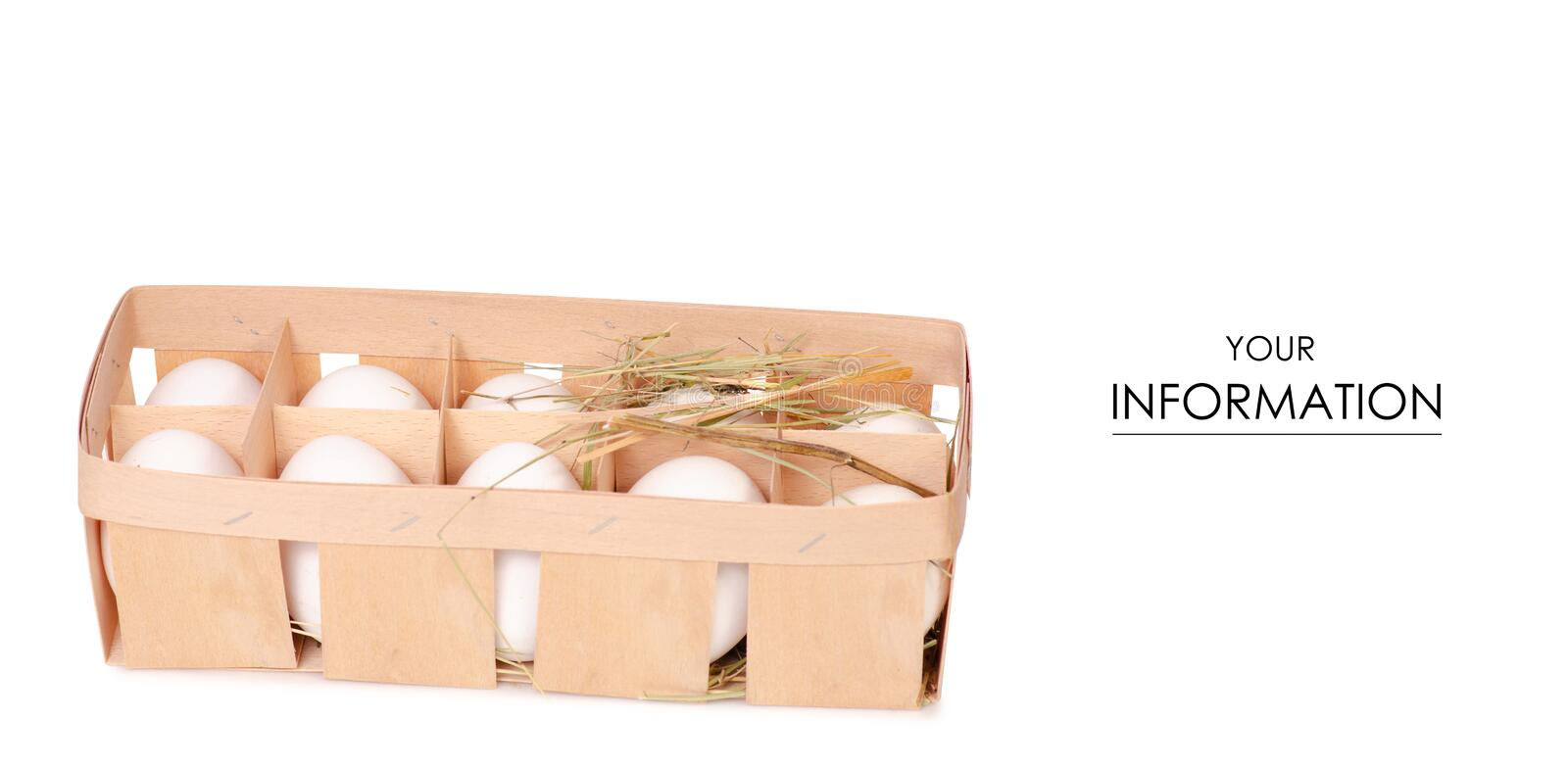 Chicken eggs in a wooden box of hay pattern stock photography