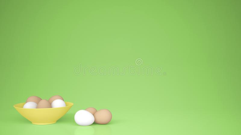 Chicken eggs into a yellow cup on the table, green background with copy space, breakfast easter food concept idea royalty free illustration