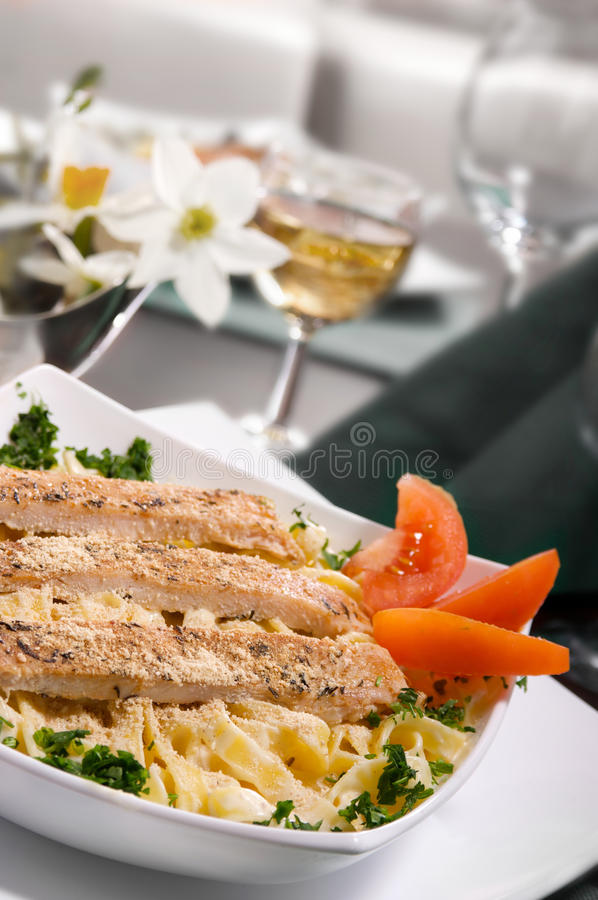 Chicken Fettuccine Alfredo royalty free stock images