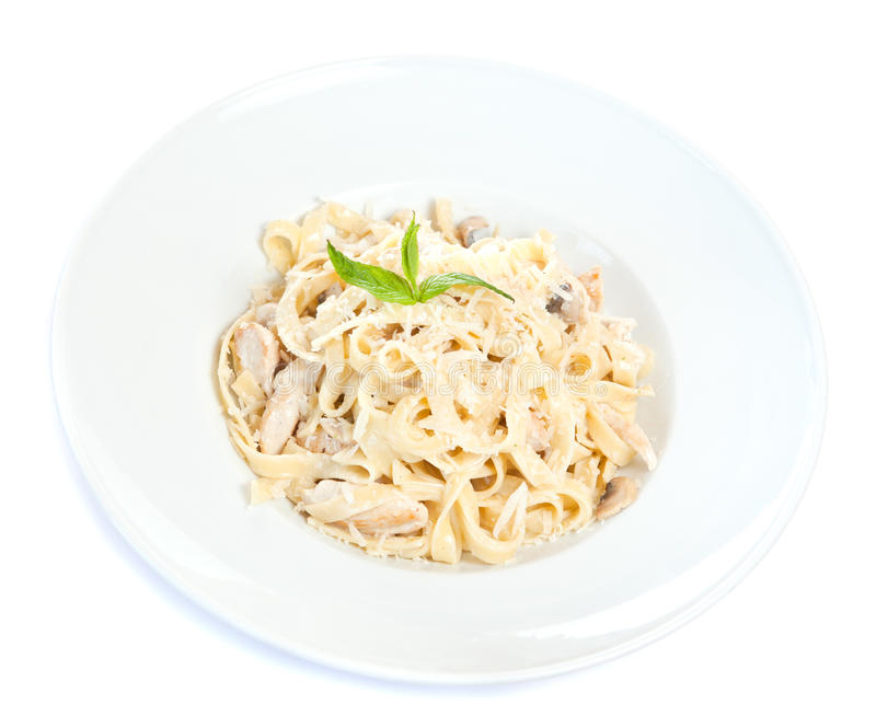 Chicken fettuccine pasta. Is ready to eat stock images