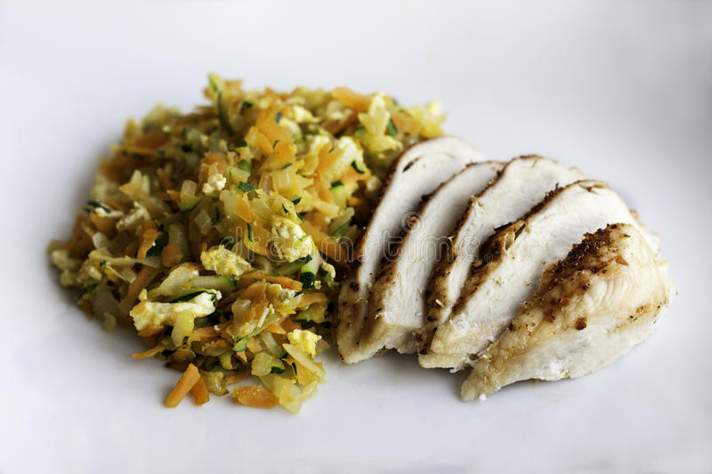 Chicken Filét. With fried vegetables and Egg royalty free stock images