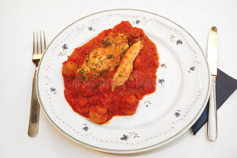 Chicken filet provencale. royalty free stock photos