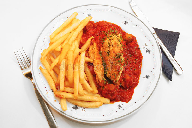 Chicken filet provencale. stock image