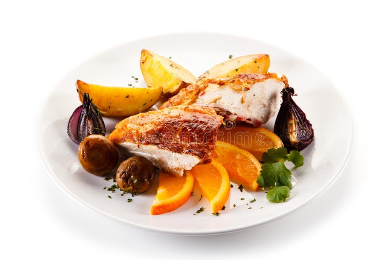 Chicken filet with vegetables royalty free stock photography
