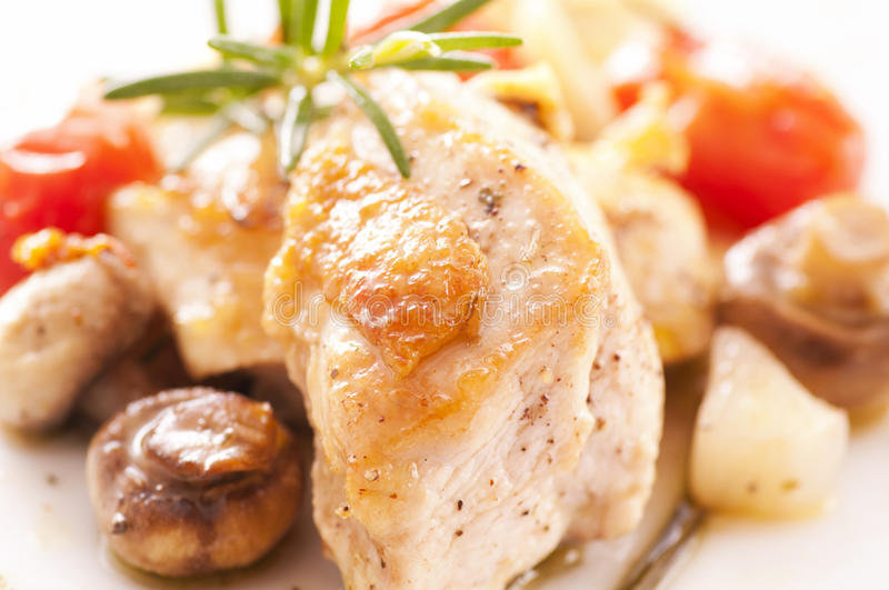 Chicken fillet. Roasted with vegetables royalty free stock photography