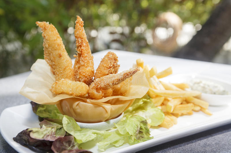 Chicken fillet in breadcrumbs with french fries. Deep fried shaped fillet in breadcrumbs with French fries and mayonnaise souse on the side. Perfect option for royalty free stock photos