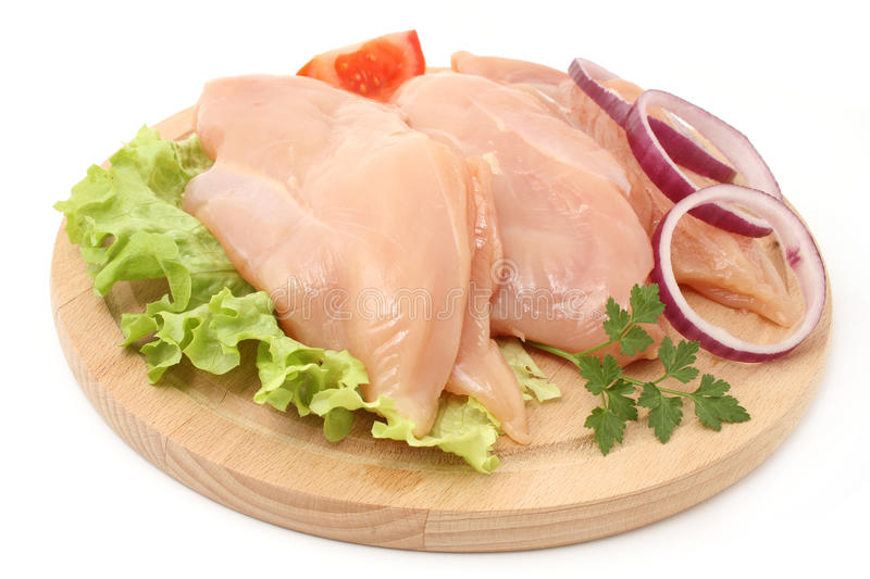 Chicken fillets. Isolated on white stock photo