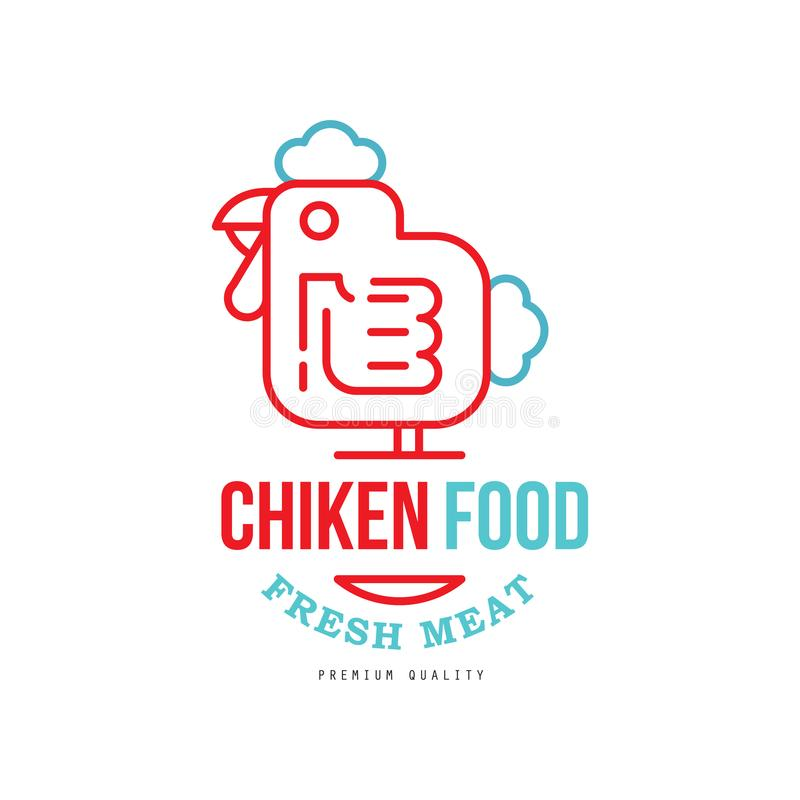 Chicken food logo design, fresh meat premium quality badge for farm products, packaging, shop, restaurant, grill, BBQ. Vector Illustration isolated on a white vector illustration