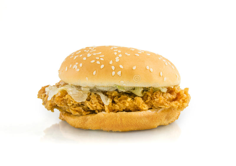 Chicken fried burger on white background. Clipping path inside royalty free stock photography