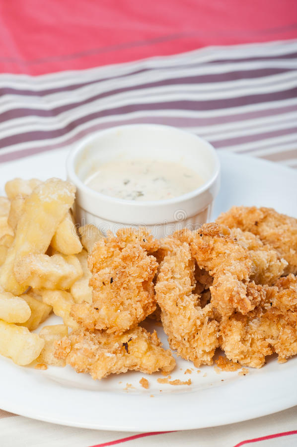 Chicken and fries with sour cream dip royalty free stock photography