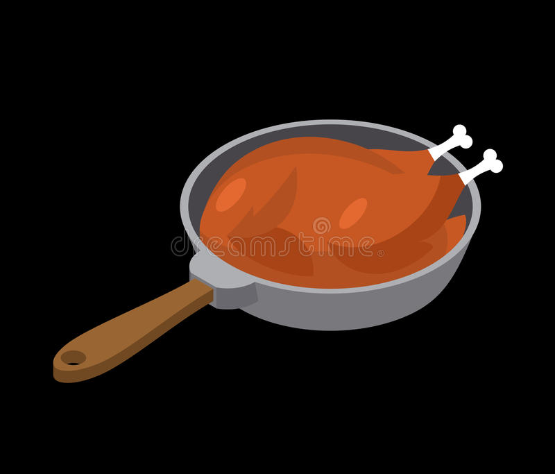 Chicken in frying pan fry. fowl in frying pan. Food and Utensils.  stock illustration
