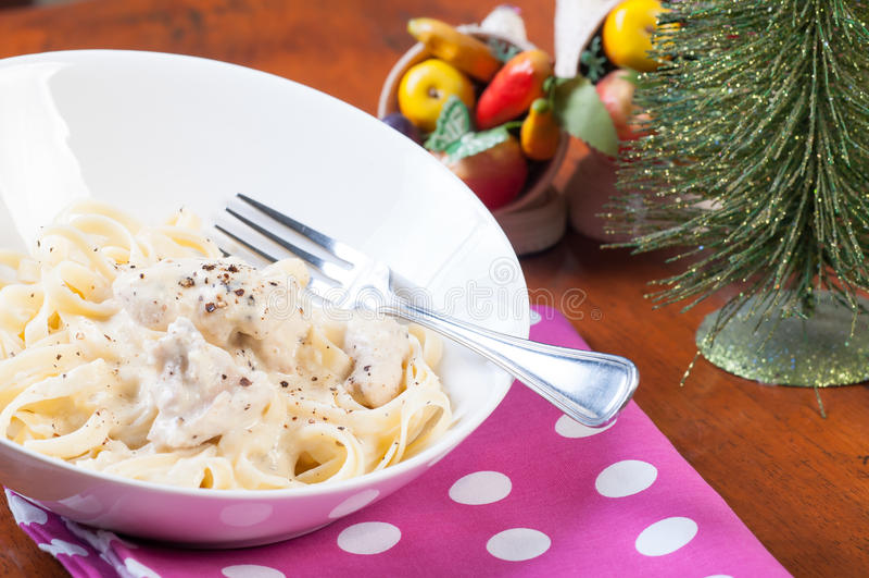 Download Chicken garlic cream pasta stock photo. Image of alfredo - 33275148