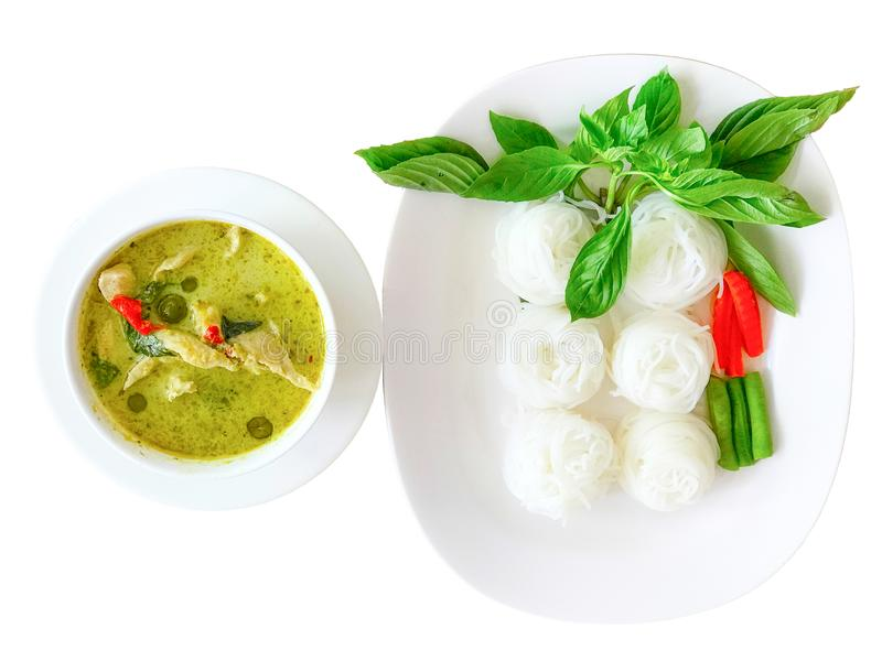 Chicken green curry and Rice noodles stock photography