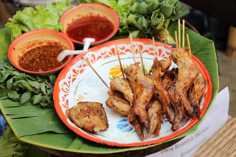 Grilled chicken, Thai Style. Grilled chicken in close up, Thai Style stock photography