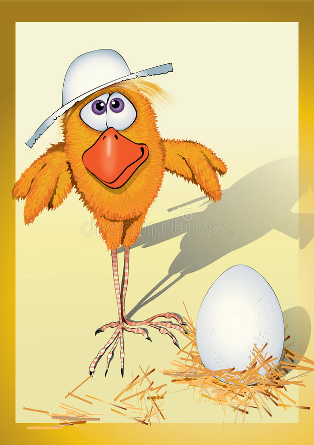 Download Chicken in a hat stock illustration. Image of yellow - 12177648