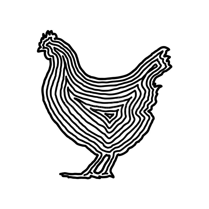 A chicken illustration icon in black offset line. Fingerprint st vector illustration