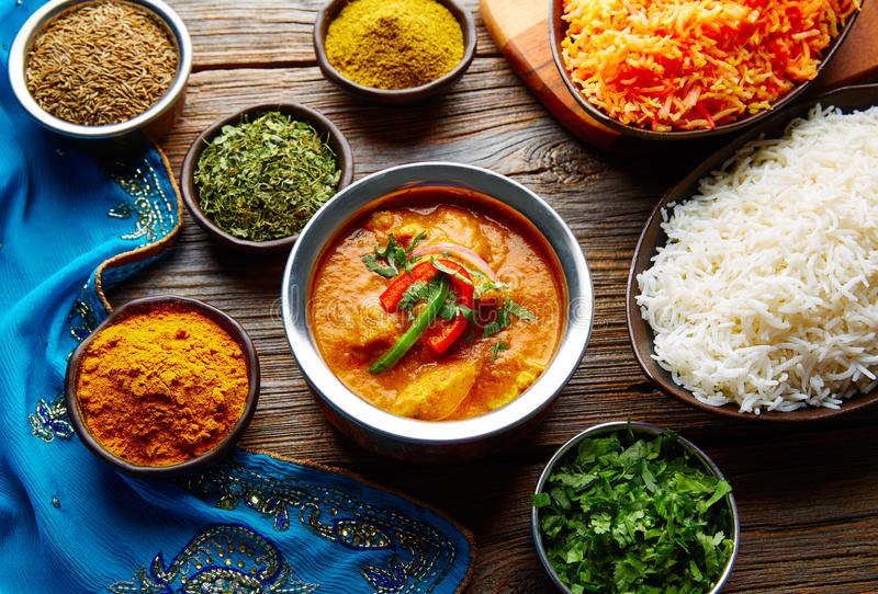 Chicken Jalfrazy indian food recipe and spices stock photo
