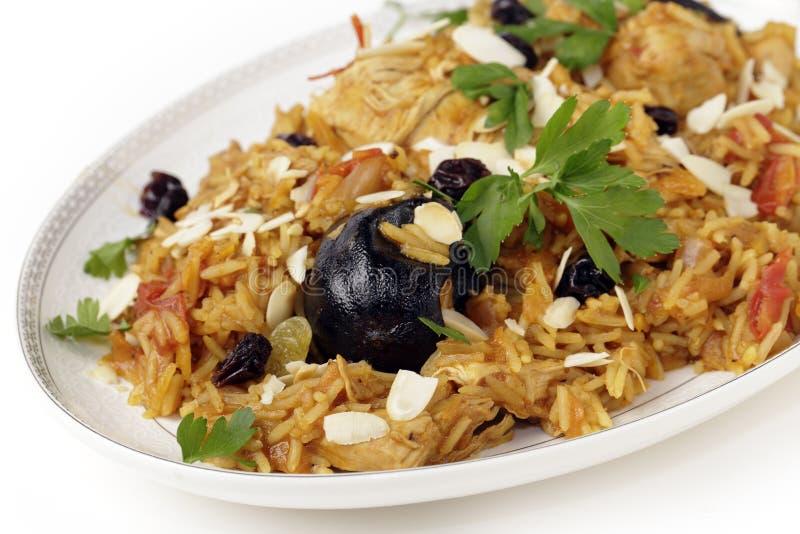 Chicken kabsa on a serving plate
