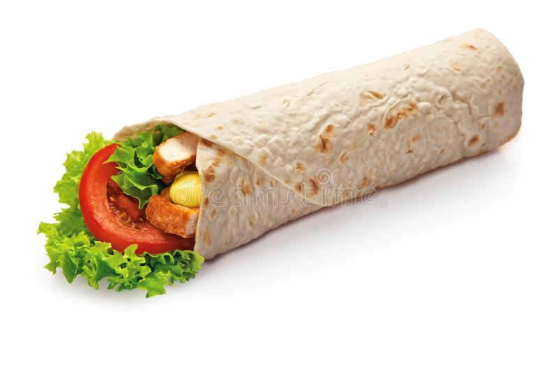 Chicken Kebab wrap with green salad and vegetables close up isolated on white background royalty free stock photos