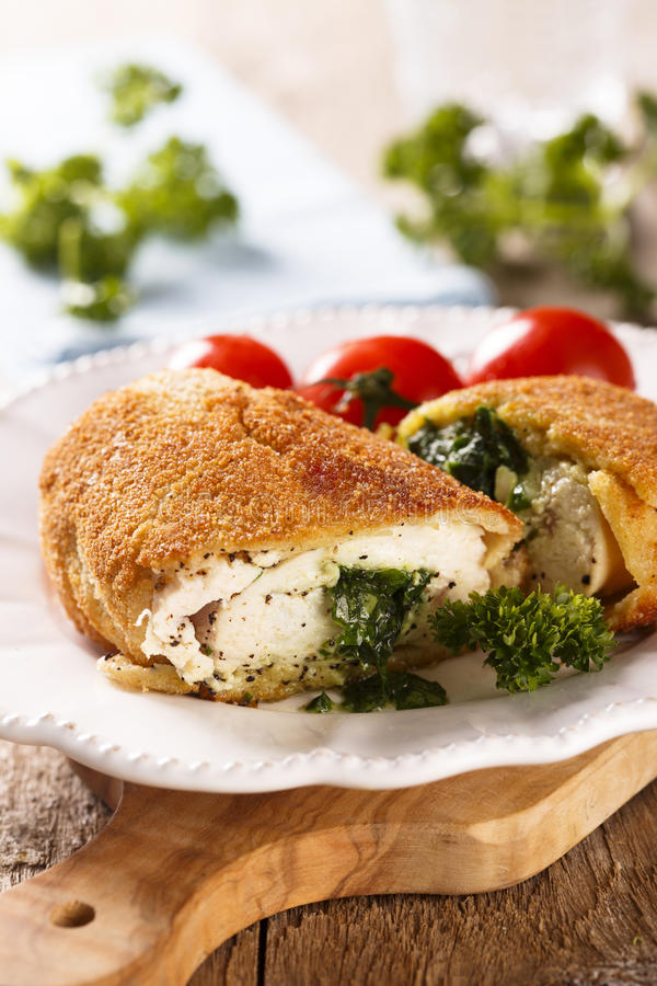 Chicken Kiev. With wild garlic royalty free stock images