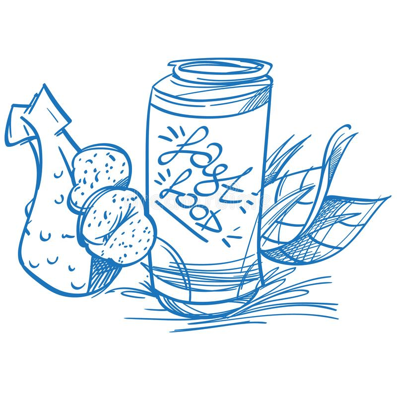 Chicken leg with baked potatoes and jar with a drink on a white background. Fast food.  stock illustration