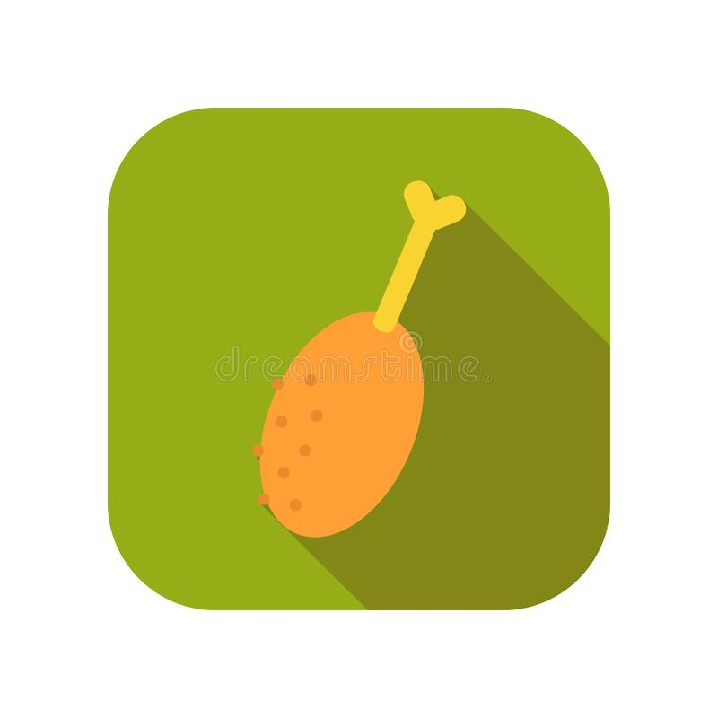 Chicken leg. Flat icon of fast food or snack. Vector. Illustration stock illustration