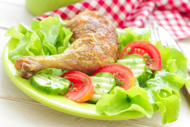 Download Chicken leg stock image. Image of green, lunch, fried - 31181787