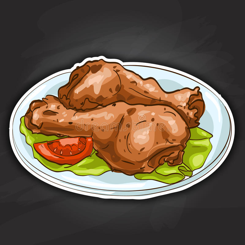Chicken legs color picture sticker. Plate with chicken legs color picture sticker, on black vector illustration