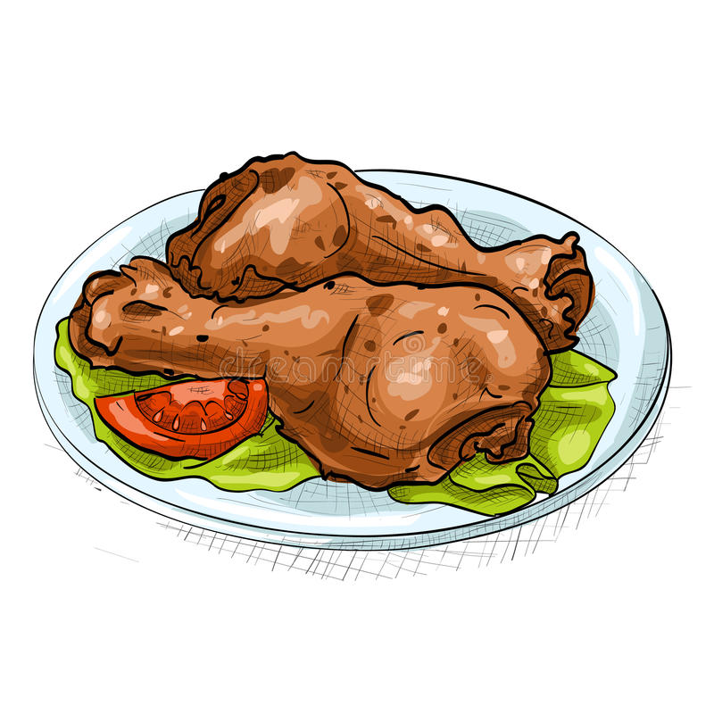 Chicken legs color picture sticker. Plate with chicken legs color picture sticker, on white royalty free illustration