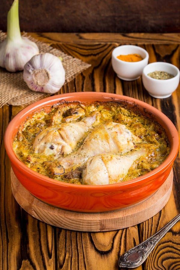 Chicken legs in creamy mushroom sauce, delicious dinner royalty free stock photo