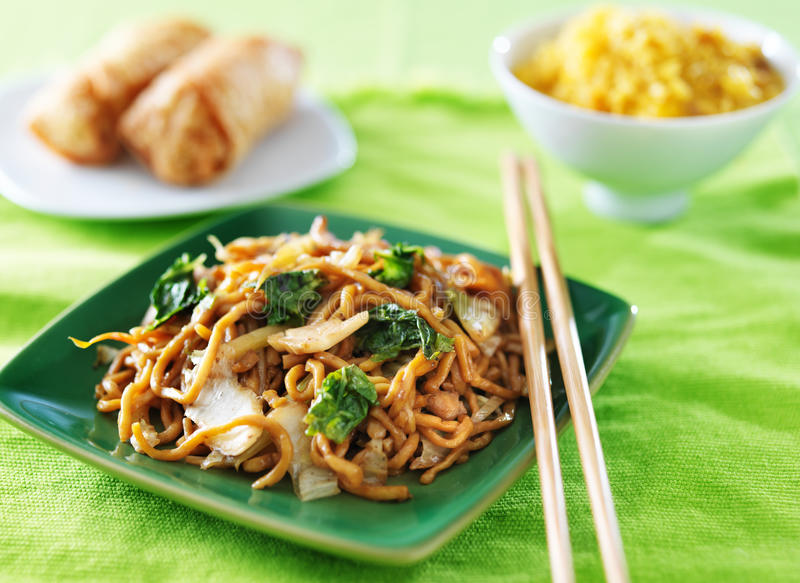 Chicken lo mein chinese food stock photo