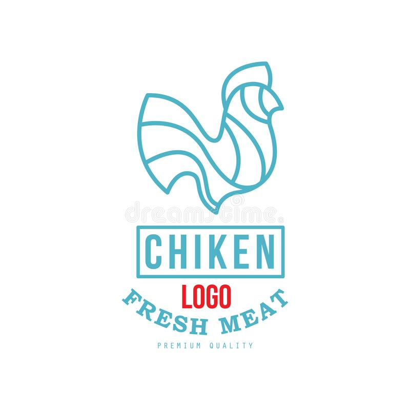 Chicken logo, fresh meat premium quality, badge design for farm natural organic products food, packaging, shop. Restaurant, grill, BBQ vector Illustration stock illustration