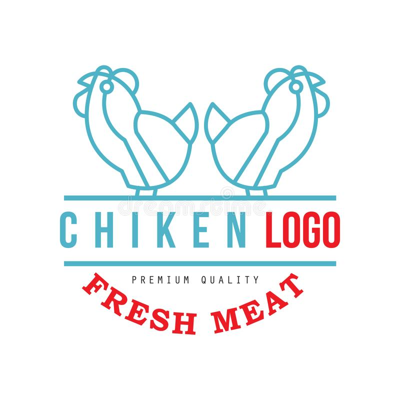 Chicken logo, fresh meat premium quality badge for farm natural organic products, packaging, shop, restaurant, grill. BBQ vector Illustration isolated on a royalty free illustration
