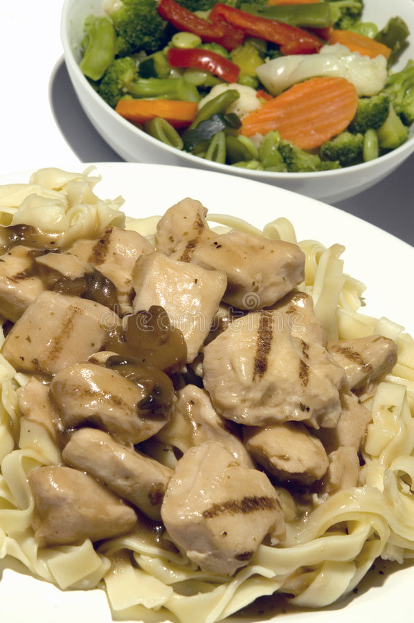Free Chicken Marsala With Vegetables And Linguine Stock Image - 1471161