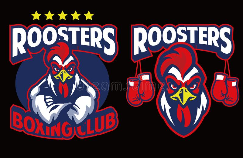 Chicken mascot of boxing club royalty free illustration