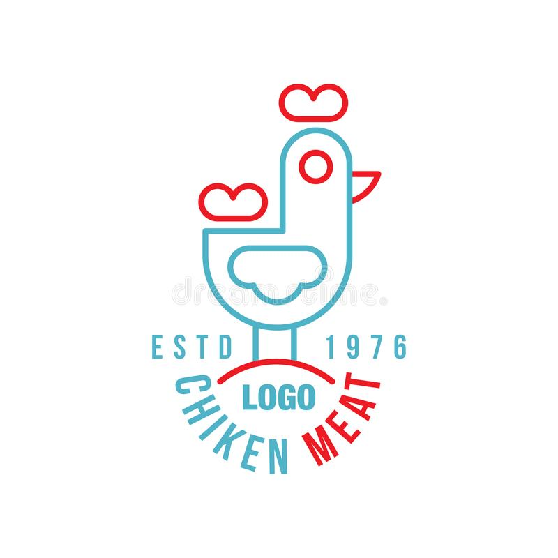Chicken meat logo estd 1976, retro badge for farm natural organic products food, packaging, shop, restaurant, grill, BBQ. Vector Illustration isolated on a vector illustration