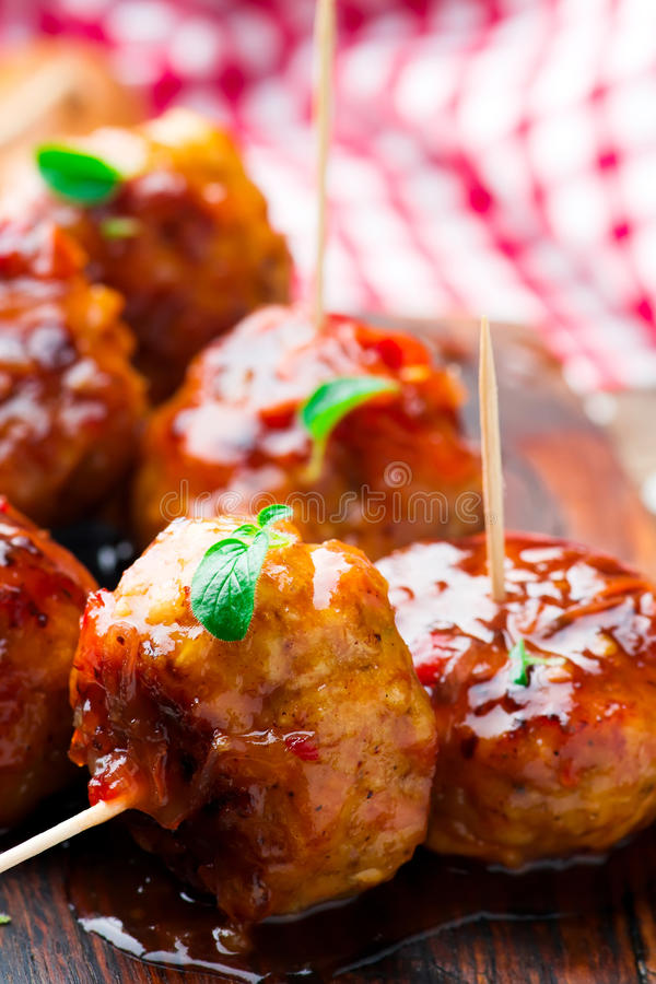Chicken Meatballs with glaze royalty free stock photo
