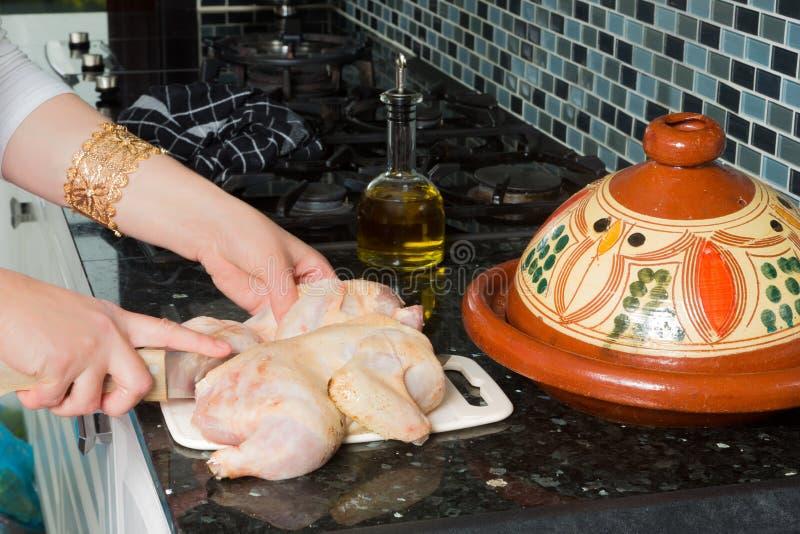 Chicken for Moroccan tajine royalty free stock image