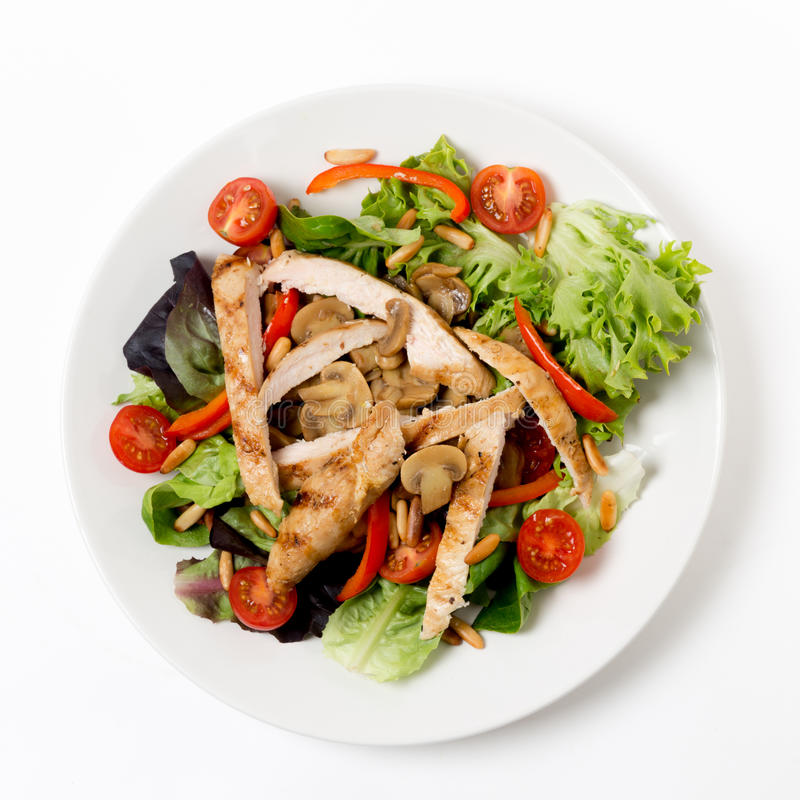 Chicken and mushroom salad from above stock photography
