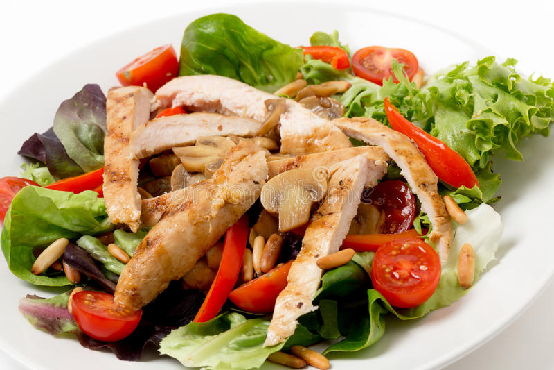 Chicken and mushroom salad closeup royalty free stock photo