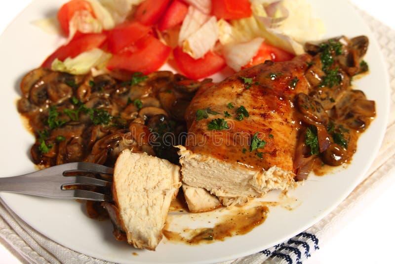 Chicken with mushroom sauce and salad stock image
