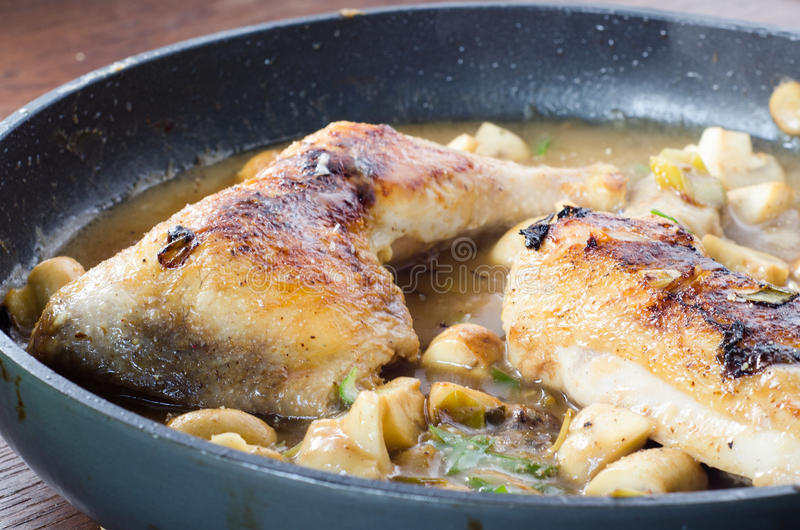 Chicken with mushrooms royalty free stock photography